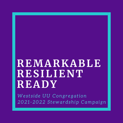 """Stewardship Logo. Large dark purple box with the words """"Remarkable, Resilient, and Ready"""""""